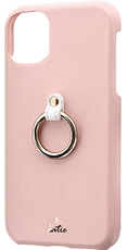 iPhone 11 リング付PUレザーシェルケース「SHELL RING Katie」 ピンク